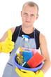 man with cleaning supplies giving thumbs up