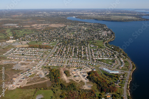 Aerial view of North American suburban neighborhoods