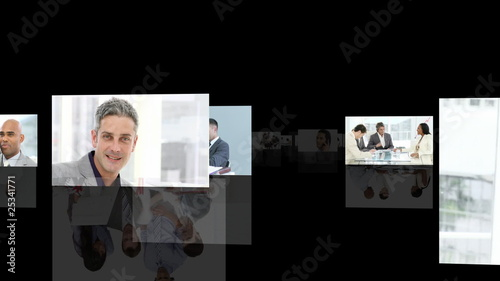 montage of businessmen against black background