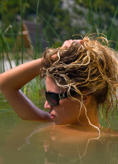 young woman swims