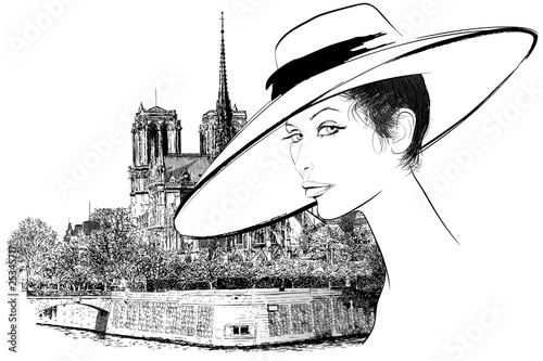 Tuinposter Geschilderd Parijs Woman nearby Notre Dame in Paris