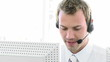 smiling man working in a call-center