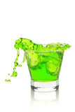 Splash in absinthe liqueur with ice cubes poster
