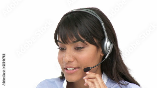 ethnic businesswoman working in a call-center