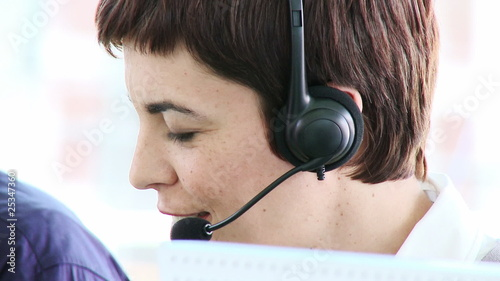attractive business woman working in a call centre