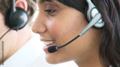 close-up of an indian woman working in a call-center