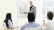 Confident businessman presenting statistics