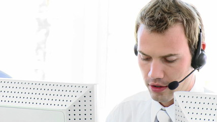 caucasian man working in a call center