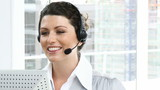 animated businesswoman with headset on