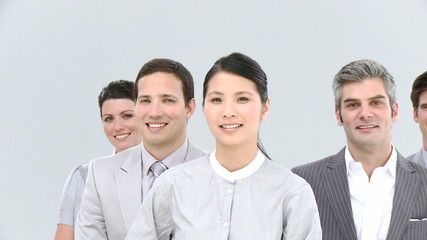 Portrait of asian businesswoman and her team