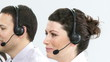 close-up of a caucasian woman working in a call-center