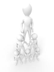 Pyramid from people. Leadership