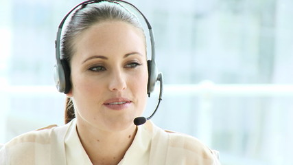 serious woman woking in a call center