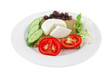 mozzarella on white plate