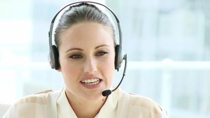 pretty woman wearinh headset