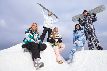 Snowboarders team