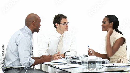 multi-ethnic team having a brainstorming