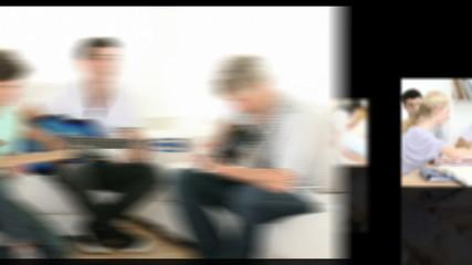 montage of teenagers having fun against black background