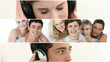 collage of teenagers listening to the music