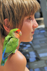 Child with Parakeet