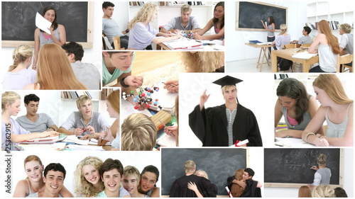 collage of students at school