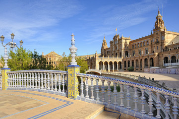 Ceramic balustrade, Plaza de Espana, Seville, Spain