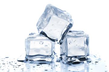 Three melting ice cubes