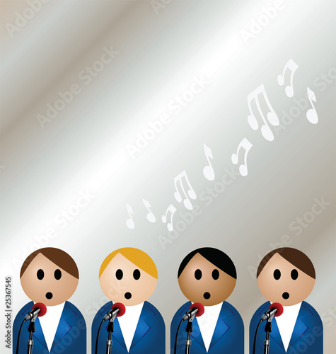 Manufactured boy band singing with copy space
