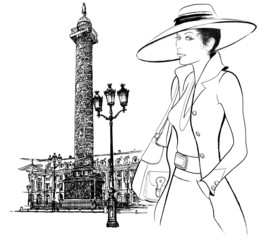 Woman nearby Vendome column in Paris