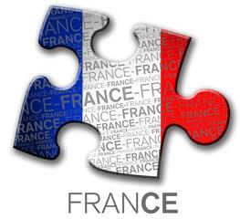 Bandera de Francia en pieza de rompecabezas