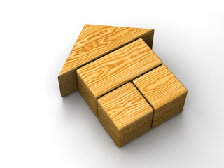 Wooden toy house on white background