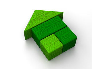 Green toy house on white background