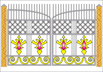 illustration with decorated gate isolated on white background