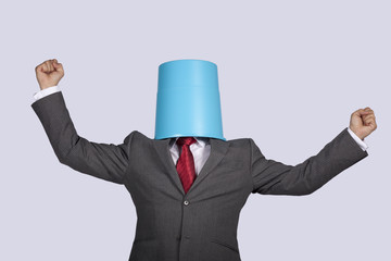 Successful bucket head businessman
