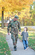 Military Father Walking With Son