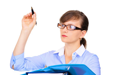 Attractive businesswoman with a pen