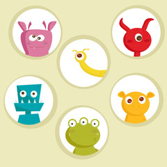Cute cartoon monsters, vector illustration