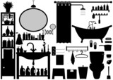Bathroom Toilet Design Set Vector