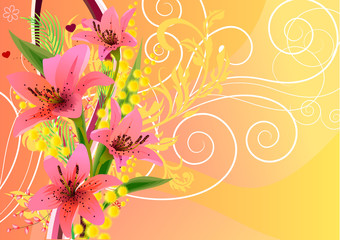 Bright spring floral background with lilies and mimosa