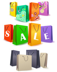 Vector set of different colorful shopping bags.
