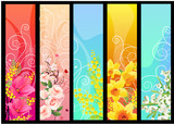 Fototapety Five different colorful floral banners