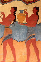 Detail of the frescoes of the Palace of Knossos