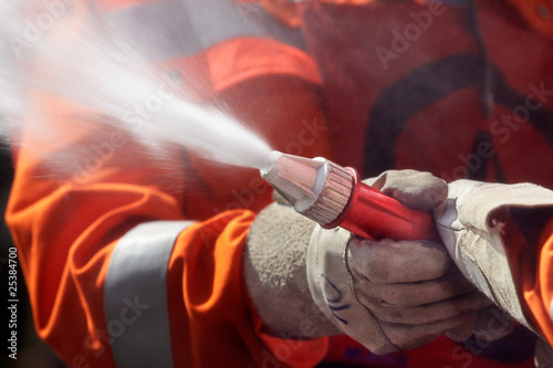 fire fighter hosing during a competition 01