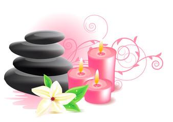 Vector spa stones and frangipani