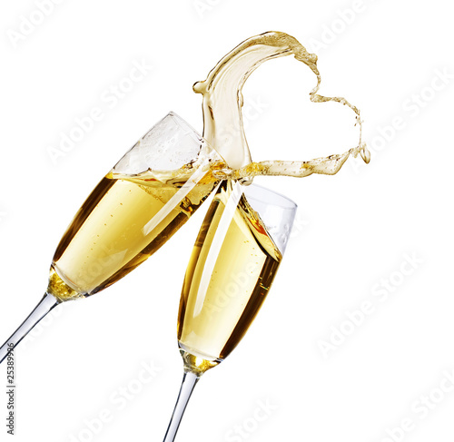 Two Champagne Glasses with abstract Heart splash - 25389996