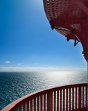 oceanview with a red handrail poster