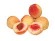Постер, плакат: Спелые персики на белом фоне