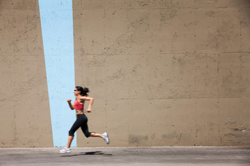 Incredibly fit woman out for a run,