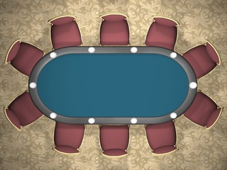 3D rendering of a poker table with chairs. (Top view)