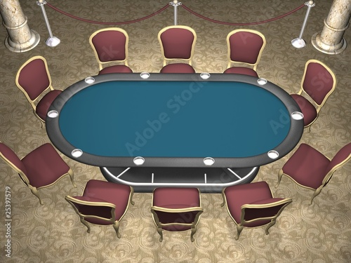 3D rendering of a poker table with chairs. (Perspective view)